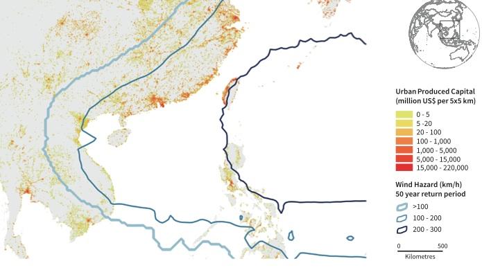 Capital produit et risques de vents cycloniques sur 50 ans en Asie-du-Sud-Est. Source: GAR global risk model.