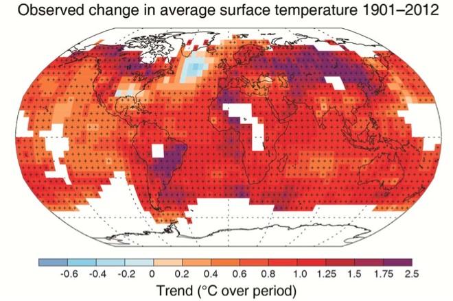Réchauffement de la Terre depuis le début du XXe siècle. Doc. extrait du 5e rapport du GIEC.