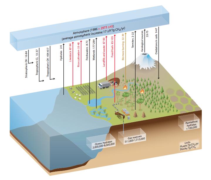Schéma du cycle du méthane. Les flux annuels sont exprimés en millions de tonnes de CH4 (Tg = téragrammes) sur la base de la période 2000-2009. Les stocks sont donnés en encadré, en millions de tonnes. Les flèches noires montrent les flux « naturels », ou qui ne sont pas directement causés par les activités humaines depuis 1750. Les flèches et nombres rouges montrent les activités anthropiques et la flèche brun clair un flux combiné naturel + anthropique. Les activités humaines (par exemple, l'utilisation de terre) peuvent avoir modifié indirectement l'ampleur globale des flux naturels.