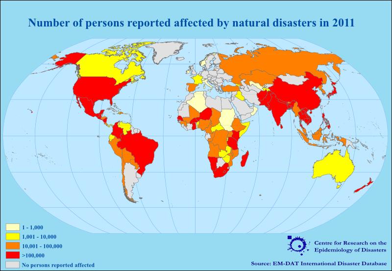Nombre de personnes affectées par des désastres naturels en 2011. Source: EM-DAT, International Disaster Database.