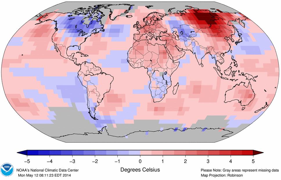 Anomalies de température du mois d'avril 2014 par rapport à la moyenne de la période 1981-2010. Doc. NOAA.