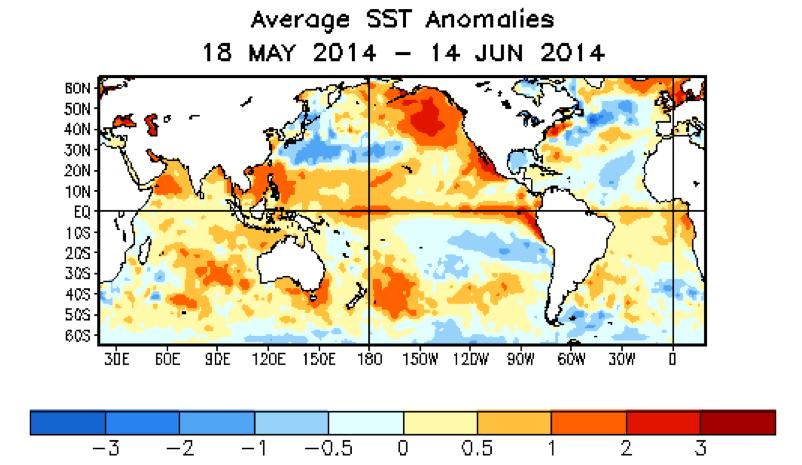 """Bonnes conditions pour l'apparition d'El Nino: au niveau de l'équateur, en partant de l'Amérique du Sud, on voit la """"langue"""" d'eau chaude qui rejoint le Pacifique Ouest. Doc. NOAA"""