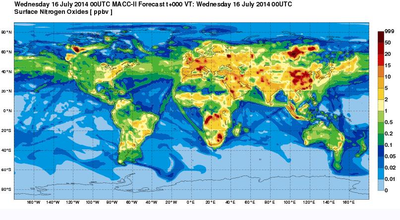16 juillet. Concentrations de NOx illustrant le réseau des principales routes maritimes. Docc. MACC