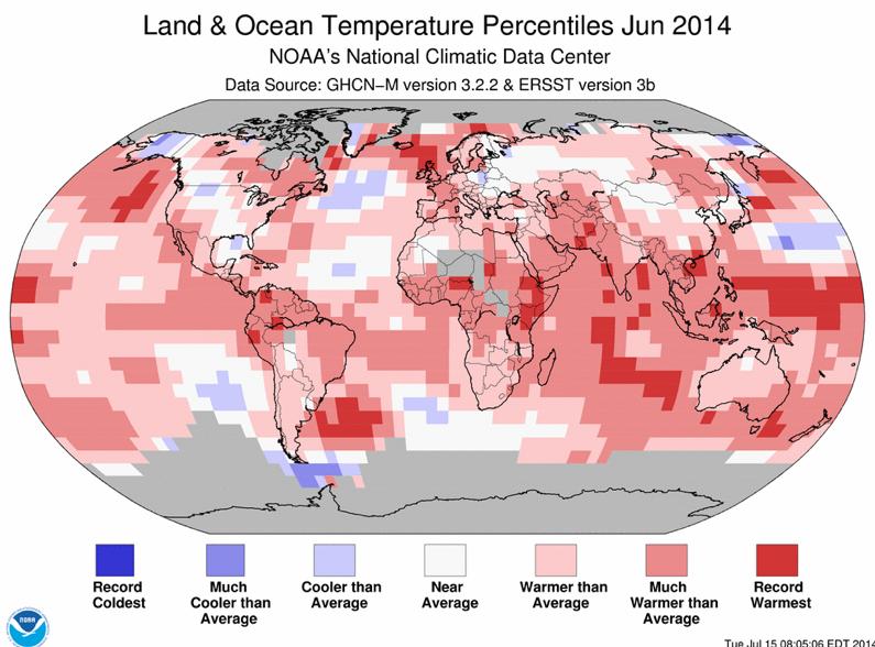 """Pour le cente de données de l'Agence américaine NOAA, le mois de juin 2014 a été le plus chaud depuis qu'on établit des records (1880), avec un record pour l'océan """"global"""". Doc. NOAA."""