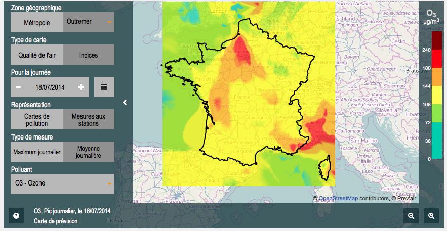 Prévision de concentration maximale d'ozone en France pour la journée du  vendredi 18 juillet 2014 (prévision de la veille).