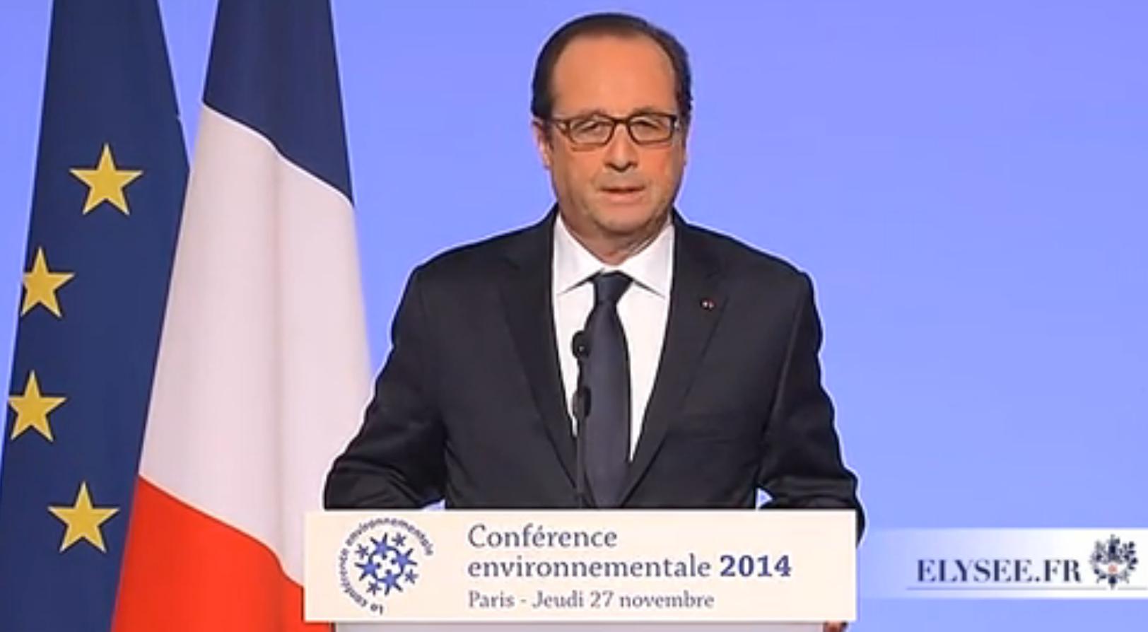 François Hollande fait de la problématique climatique une question d'unité nationale. Doc. PDLR
