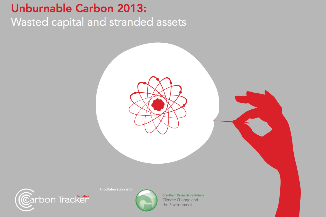 """Couverture de l'étude de l'organisme spécialiste de l'énergie et de la finance, Carbon Trackers, sur le carbone """"imbrûlable"""". Doc. CT"""