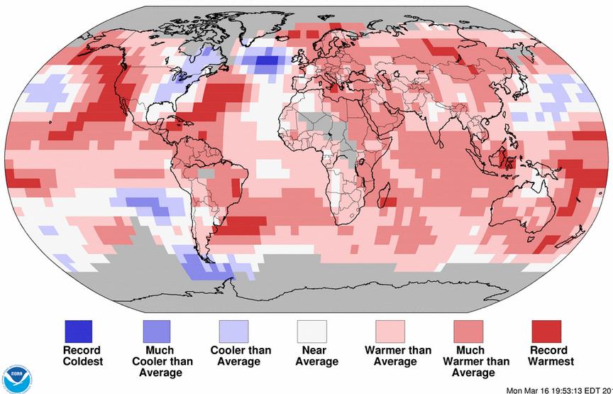 Le froid rencontré à l'est du continent nord-américain a donc été plus que compensé par des records de chaleur dans l'Atlantique Ouest, du Nord jusqu'au Antilles, ainsi que de part et d'autre de la côte pacifique américaine, de l'Alaska au Mexique. Doc. NOAA