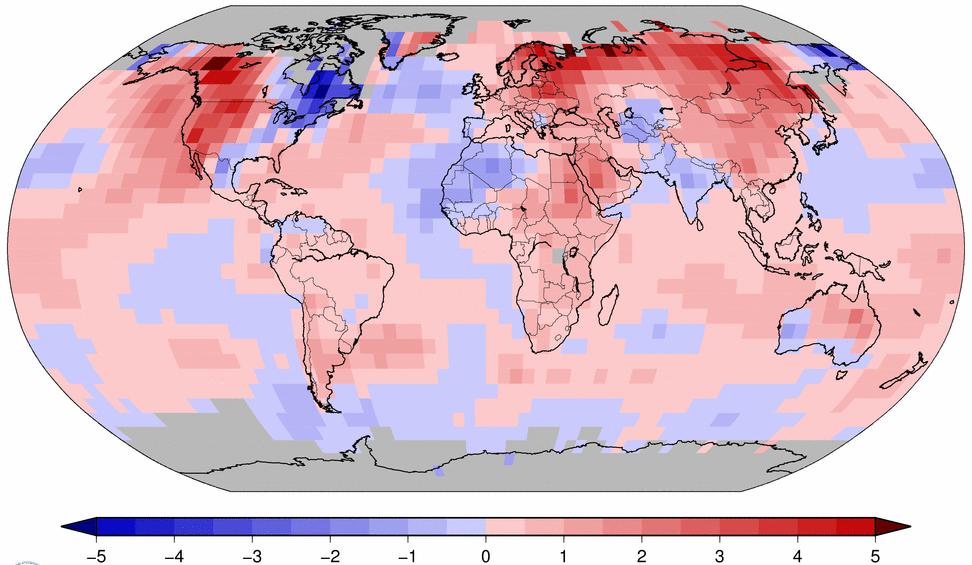 Anomalies de température en mars 2015 par rapport à la moyenne 1981-2010 (en degrés celsius). Doc. NOAA
