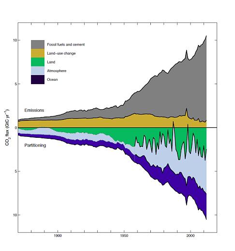 Sources et puits de carbone. Les écosystèmes terrestres forment un puits de carbone irrégulier. Doc. Global Carbon Project.