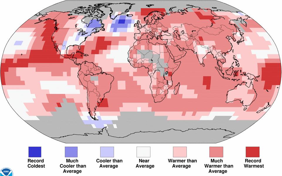 Anomalies de température pour la période janvier - mai 2015 par rapport à la moyenne du siècle dernier. Doc. NOAA