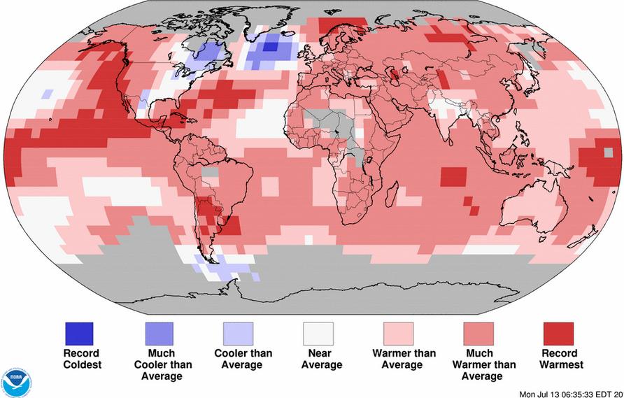 Mis à part le Québec et le nord-ouest des Etats-Unis, les anomalies de température pour le premier semestre 2015, sont nettement au rouge. Doc. NOAA