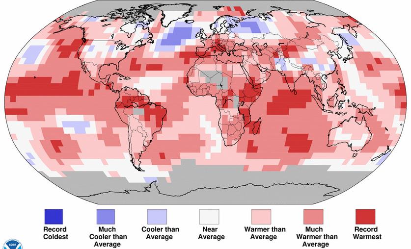 Le mois de juillet 2015 a été le plus chaud jamais enregistré pour le globe terrestre. El Nino fait tomber les records dans le Pacifique équatorial. Doc. NOAA
