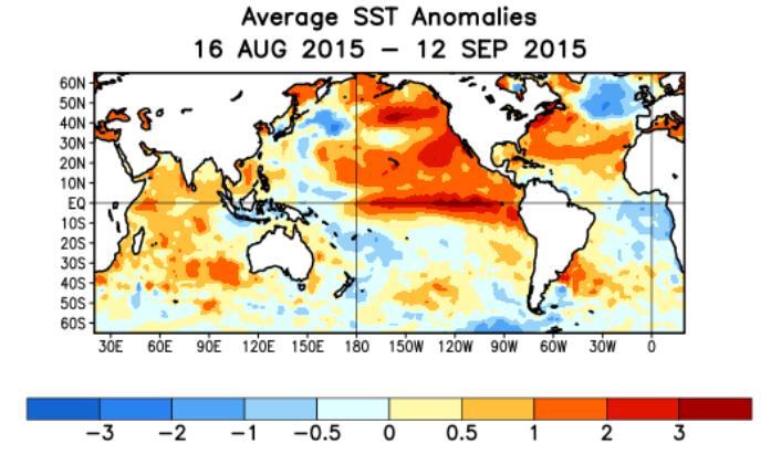 Le phénomène climatique El Nino se forme dans l'Océan Pacifique au niveau de l'équateur, à partir d'une eau plus chaude que la normale. Il est ici bien visible. Doc. NOAA