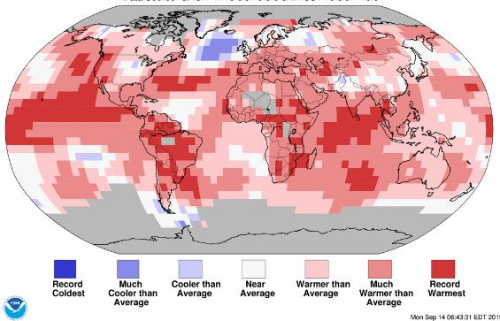 Anomalies de température de l'été 2015 par rapport à la norme du XXème siècle. Doc. NOAA