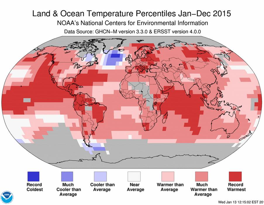 Il est confirmé qu'autour du globe seul l'Atlantique Nord a connu une année 2015 beaucoup plus froide que la moyenne du XXème siècle. Doc. NOAA
