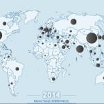 Emissions 2014 dues à la combustion des énergies fossiles. Doc. Global Carbon Atlas.