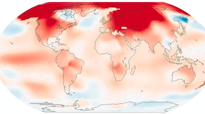 La température moyenne de février 2016 vue par le Goddard Institute for Space Studies de la NASA. Dans l'Alaska, en Europe de l'Est ou encore dans le centre de la Russie, les températures moyennes ont dépassé les +5°C par rapport à la moyenne de... 1980-2010.