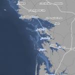 Littoral charentais et vendéen avec une hausse du niveau de la mer de plus de 15 -20 mètres. Doc. Climate Central.