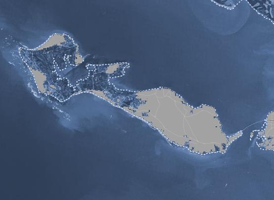 L'Ile de Ré avec une hausse du niveau de la mer de 2 mètres. Doc. Climate Central