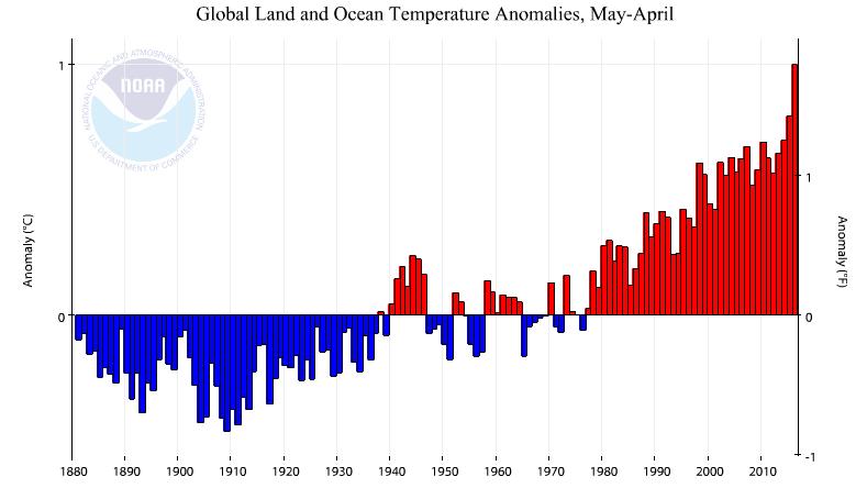 Evolution de la température moyenne par périodes de douze mois allant de mai à avril. Les période mai 2014-avril 2015 et mai 2015 - avril 2016 accentuent le profil exponentiel du réchauffement. Le zéro est la moyenne du XXème siècle. Doc. NOAA
