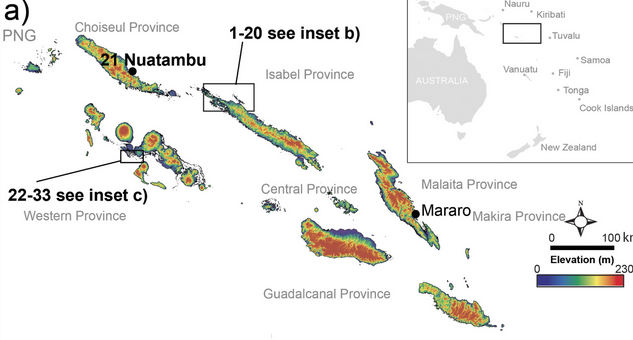 Situation des îles étudiées par les scientifiques australiens. Doc. ERL