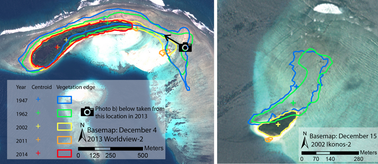 A gauche: érosion progressive de l'île de Sogomou. A droite: l'île de Kale donne l'impression d'avoir glissé au sud avant de sombrer. Doc. ERL