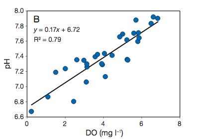 Relations entre pH et oxygène dissous (DO) dans des eaux mésohalines (saumâtres) peu profondes. Doc. SERC