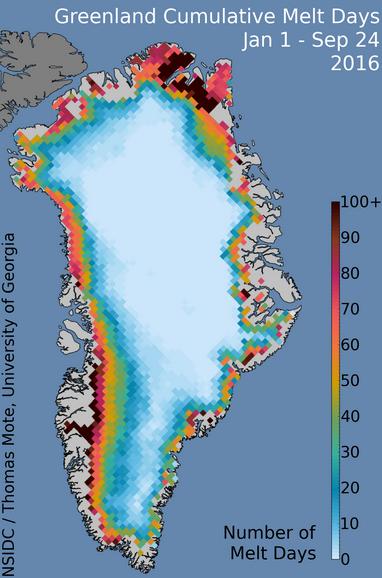 Jours de fonte de la calotte polaire du Groenland entre le 1er janvier et le 24 septembre 2016. Doc. NSIDC