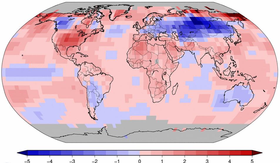 Températures moyennes enregistrées en octobre par NOAA. Il a fait très chaud aux plus hautes latitudes au-delà de 80°C nord. Doc. NOAA